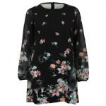 Ex Lipsy Black Floral Printed Loose Shift Tunic Mini Dress